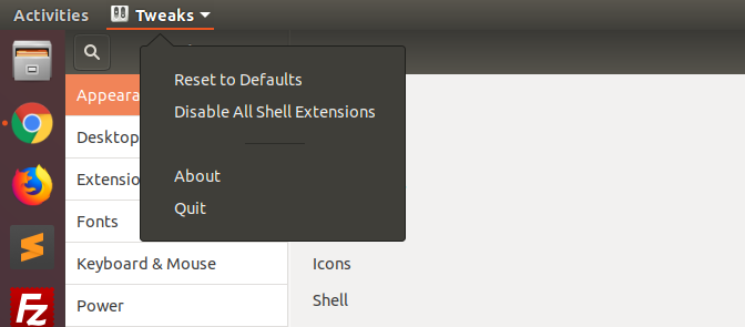 Gnome Reset Defaults Option