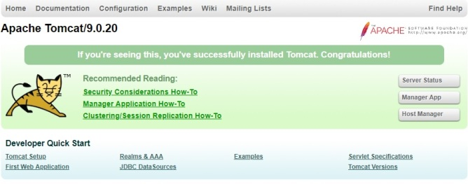 how to install tomcat 9 homepage
