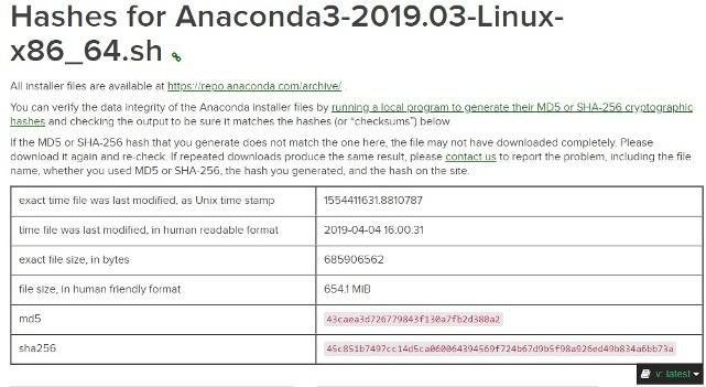 anaconda hash