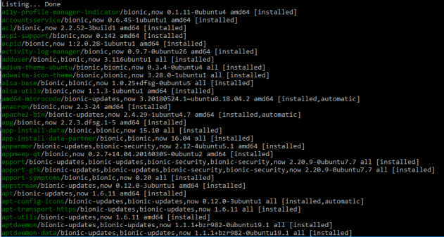 ubuntu list installed packages with apt