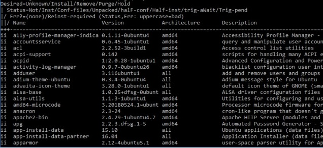ubuntu list installed packages with dpkg query