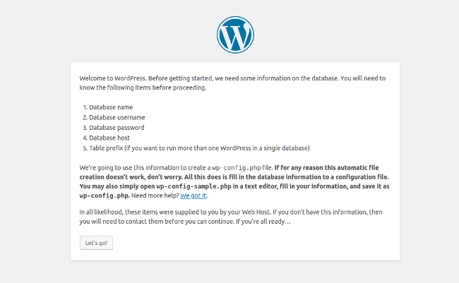 wordpress-install-information